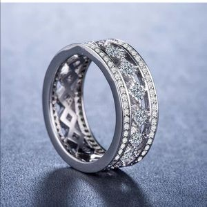 Silver stamped white diamonds engagement new ring